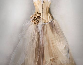CHAMPAGNE WEDDING GOWN vintage, wedding dress with victorian corset, prom dress, full lenght, with lights!