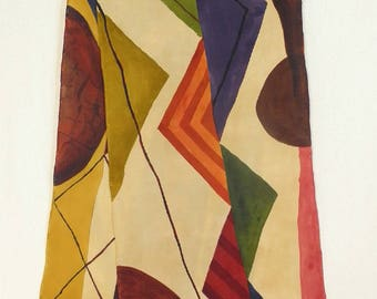 Abstract Art Hand Painted Silk Scarf - Rich Stonewashed Crepe de Chine