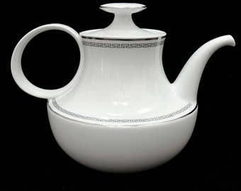 White Teapot, Platinum Trim, White Dishes, Designer Shape, Elegant Classic, Timeless Design, Wedding or Anniversary Gift
