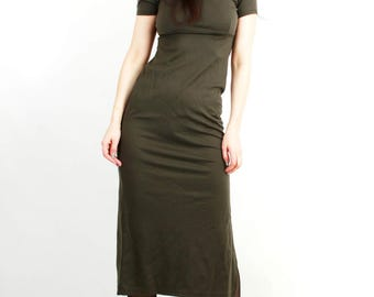 Vintage 90s Khaki Long Dress / Long Tight  Dress / 90s Grunge Dress / Maxi Dress / Long Bodycon Dress / Size S / M