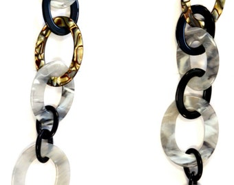 Mixed Link Chain Necklace in Grey Mist