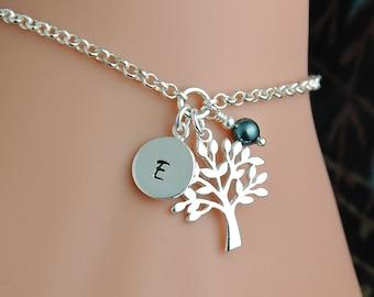 Tree of Life Bracelet, Personalized Bracelet, Silver Tree of Life, Adjustable Bracelet, Initial Bracelet, Tree of Life Jewelry WB110