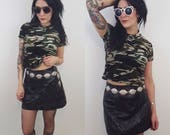 90's Cropped Velvet Camo Tshirt Small - 1990s Camouflage Grunge Crop Top - Classic Basic Cropped Olive Green XS Extra Small Tee Shirt