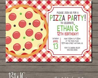 Kids Birthday Invitation, Pizza Invitation, Pizza Party Invite, Printable Invitation, Digital File