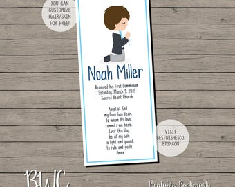 Boy First Communion Bookmark 1st Communion Favor Thank You Communion Bookmark Digital File