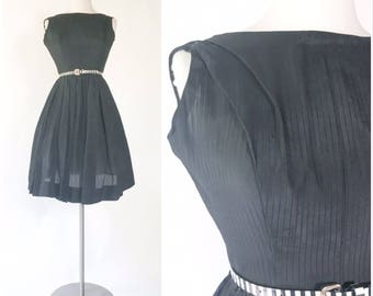 vtg 50s sheer black pinstripe full skirt pinup dress / assymetrical gathered shoulder / matching jacket / petite junior miss size