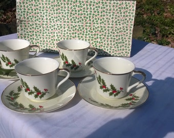 Christmas Holiday cups Saucers Boxed Set of4 each