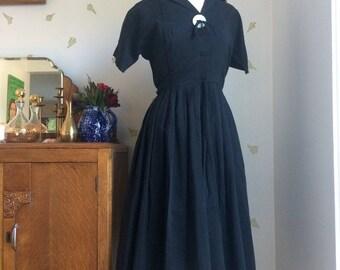 Vintage 50's Black Cotton Fit + Flare Dress / 26 Waist