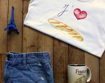 Women's I LOVE BAGUETTES T-Shirt for Francophiles who love France