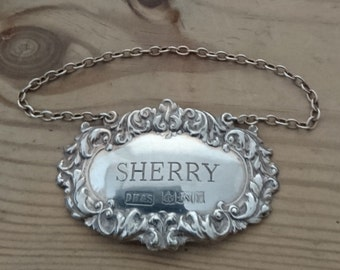 Vintage sterling silver Sherry decanter label
