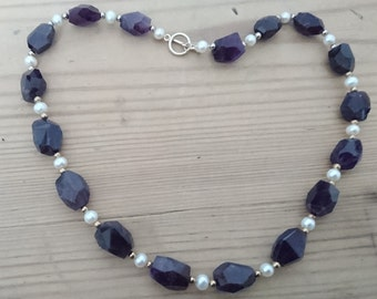Vintage faceted Amethyst and real Pearl necklace