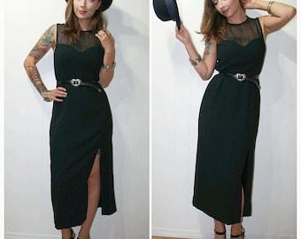 1980s Vintage Little Black Dress with Sweet Heart Neckline and Side Slit Mid Length Skirt