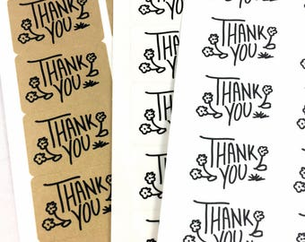 Modern Calligraphy Thank You Labels / Floral Black and White Stickers / Floral Thank You Label / Business Wedding Thank You Sticker