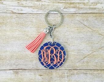 Monogram keychain with tassel, monogram tassel keychain, acrylic keychain, tassel keychain, monogram keychain, gift for her, circle mongoram