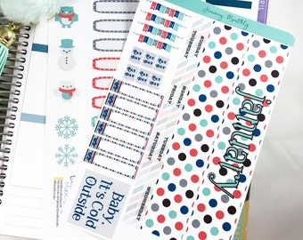 January MONTHLY Kit Planner Stickers | Monthly Spread for Erin Condren  / Stickers for Erin Condren / Themed Monthly Planner Stickers