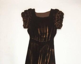 Vintage Handmade 1930s Chocolate Brown Velvet Dress