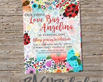 Love bug, birthday invitation, digital print