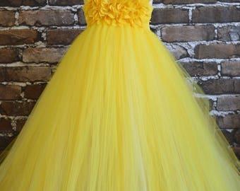 Canary yellow chiffon hydrangea flowerl girl dress