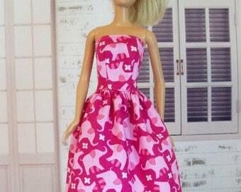 Handmade, Barbie Clothes, Pink Elephant, Barbie Dress, Modest Dress, Party Dress, Hot Pink, Doll Dress, Fashion Doll Clothes