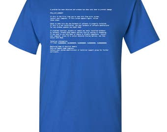Screen of Death PC Computer Funny Adult Mens T-Shirt 100% Cotton Blue