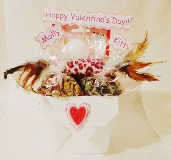 Catnip Toys For Valentine S Day : Valentines day cat or ferret gift basket with toys and treats