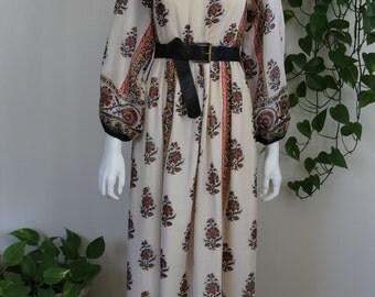 1970's Bohemian Cotton Off or On Shoulder Maxi Dress Boho Hippie Gypsy