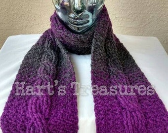 Warm Cabled Crochet Scarf