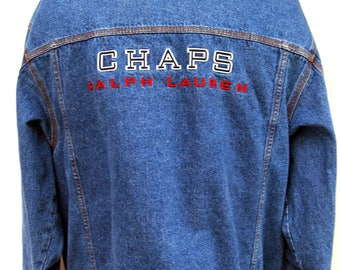 Vintage Chaps Ralph Lauren Denim Jacket Embroidered Back Logo Mens XL Blue Broken In 90s Clothing