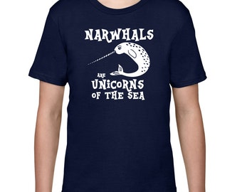 Kids Clothing, Kids Shirt, Funny T Shirt, Narwhal Tshirt, Unicorns Of The Sea Tee, Narwhal T Shirt, Youth Childrens Clothes Ringspun Cotton