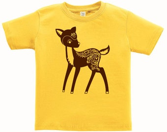 Kids Clothing Kids Shirt Toddler, Whimsical Deer Tshirt, Forest Animal T Shirt, Woodland Critter Tee Youth Childrens Clothes Ringspun Cotton