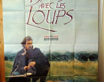 """Dances With Wolves  French Subway Movie Poster  """"Danse Avec Les Loups""""  """"Dances With Wolves""""   -  Kevin Costner"""