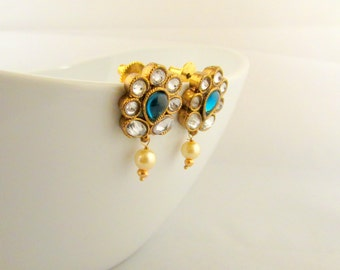 Dainty Blue and Clear Crystal Push Back Post Earrings With a Pearl Drop Dangle
