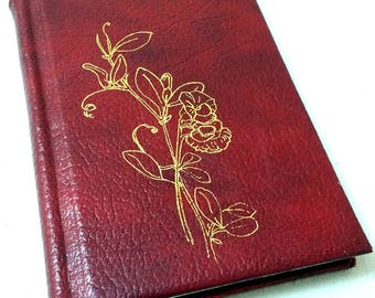 "Red Leather Journal, ""Sweet Peas"""