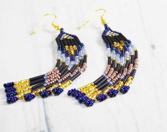 Chandelier earrings fringe earrings charm earrings Exotic jewelry extra long earrings feather earrings dangling earrings mexican earrings