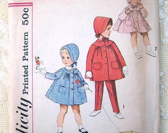 Vintage 60s Toddler's Coat with Detachable Collar, Hat and Pants Simplicity Sewing Pattern 4199.  Size 3