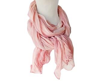 Blush scarves, blush chiffon scarf, pink silk scarf, pink chiffon scarf, crinkle chiffon, blush pink, silk summer scarf, silk summer wrap