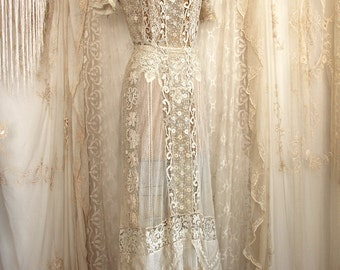 Antique Irish Lace And Silk Net Wedding Dress Vintage Bridal Gown Mixed