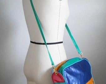 30% SALE - 80s vintage bag - leather rhinestone purse handbag - 80s Colorblock leather bag