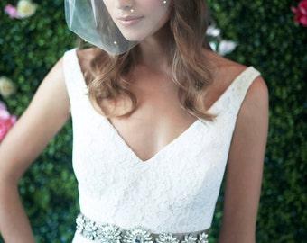 MARIE MEDIUM w/ Rhinestones All Over - birdcage veil, bird cage veil, blusher veil, tulle bridal birdcage veil, tulle veil, small veil