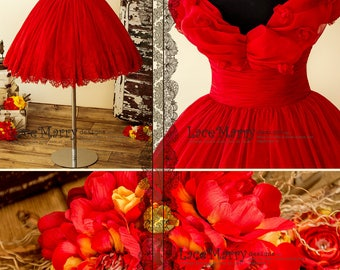 Princess Short Red Dress with Off Shoulder Bounced Top and Puffy Skirt with Lace Bottom | Short Reception Dress, Prom Dress, Party Dress