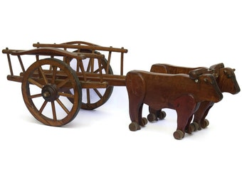 French Vintage Wooden Toy Ox Cart.  Hand Made Folk Art Toy.