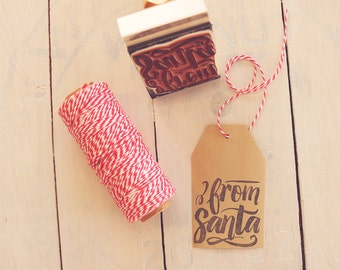 From Santa Stamp, Gift Tag Stamp, Christmas Calligraphy Stamp, Hand Lettered Stamp