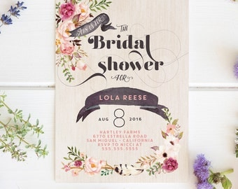 Floral Bridal Shower Invitations - Boho Tribal Watercolor Rustic Wedding Shower Invites - Printed or Printable Cards