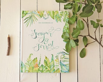 Botanical Wedding Guest Book • Tropical Leaves Custom Guest Book • Watercolor Boho Guest Book for Beach Wedding • 8 x 10