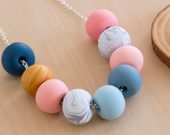 Handmade Polymer Clay Jewelry // Peach, Marble & Navy Beaded Necklace //  Pastel Wool Denim