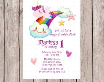 Unicorn Invitation, Unicorn Invite, Unicorn Birthday Invitation, Unicorn Birthday Invite, Unicorn Party Invitations, Unicorn Party