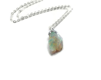 Raw Opal Necklace - Rough Fire Opal Necklace - Natural Gemstone Necklace - Opal Jewelry - October Birthstone - Raw Rough Gemstone Pendant