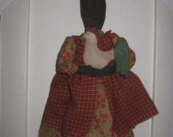 Primitive Black Doll with Rooster