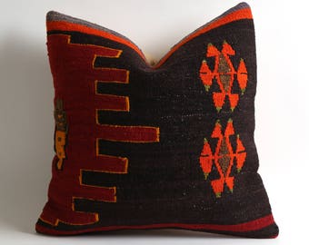 turkish kilim pillow16x16 kilim pillow cover turkish pillow vintage pillow decorative pillow bohemian pillow kilim cushion red brown