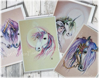 Greeting Card Set, Set of Cards, Birthday cards, Unicorn cards, Fantasy cards, Unicorn Greeting Cards, Blank Birthday Cards, Thank you Cards